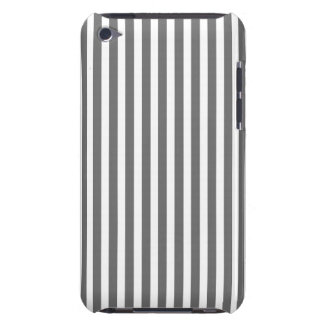 Charcoal Grey and White Cabana Stripes Barely There iPod Case