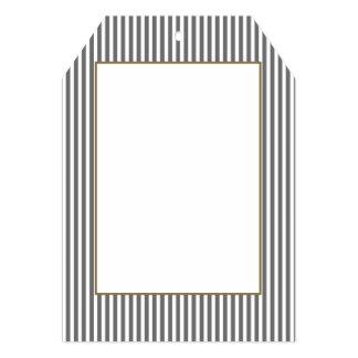 Charcoal Grey and White Cabana Stripes 13 Cm X 18 Cm Invitation Card