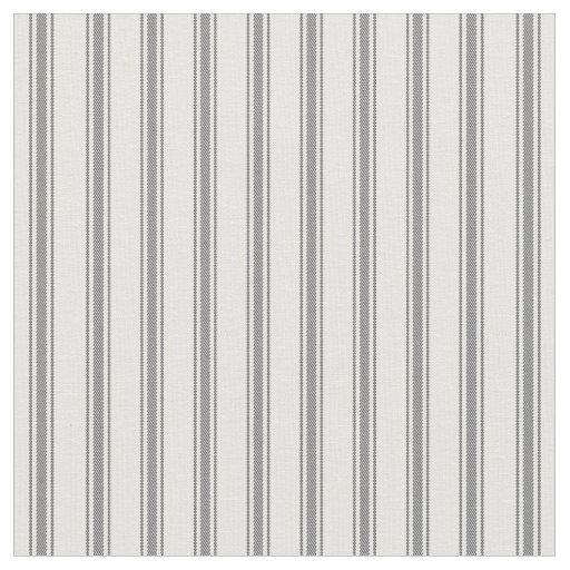 Charcoal Grey and White Classic Ticking Stripes Fabric
