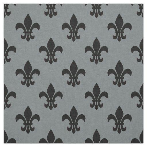 Charcoal Grey, Black Fleur De Lis Pattern Sz6