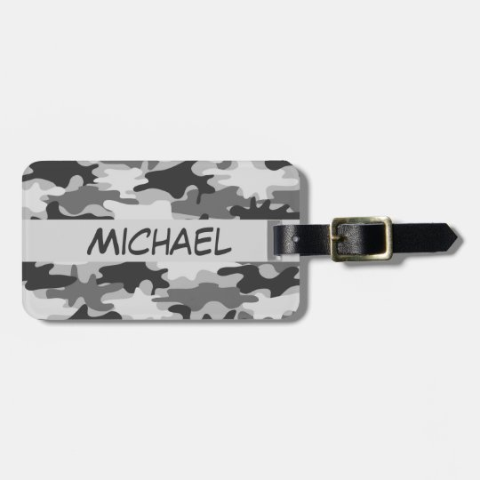 Charcoal Grey Camo Camouflage Name Personalised Luggage Tag