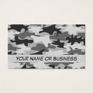 Charcoal Grey Camo Camouflage Name Personalized Business Card