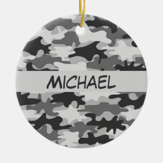 Charcoal Grey Camo Camouflage Name Personalized Christmas Ornament