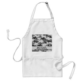 Charcoal Grey Camo Camouflage Name Personalized Standard Apron