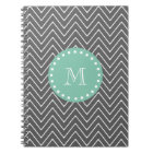 Charcoal Grey Chevron Pattern | Mint Green Monogra Notebook