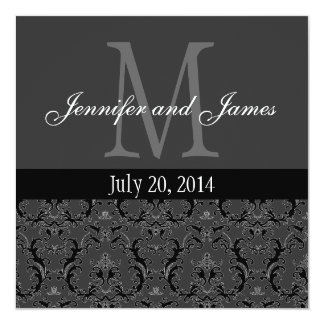Charcoal Grey Damask Monogram Wedding Invitation