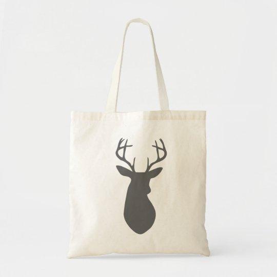 Charcoal Grey Deer Head Silhouette Tote Bag