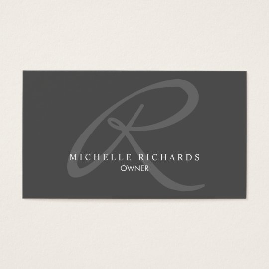 Charcoal Grey Elegant Minimalist Logo Business Card