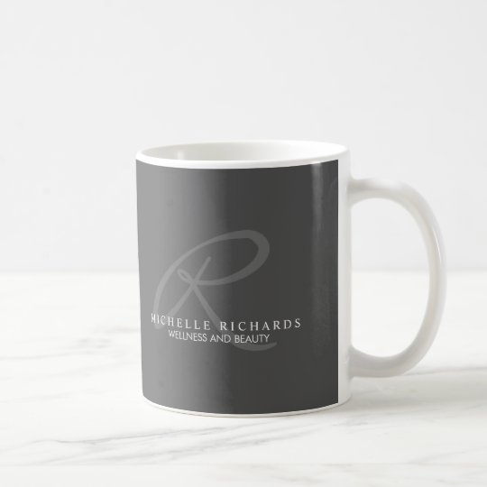 Charcoal Grey Elegant Minimalist Monogram Coffee Mug