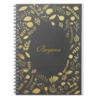 Charcoal Grey & Faux Gold Floral Notebook Journal