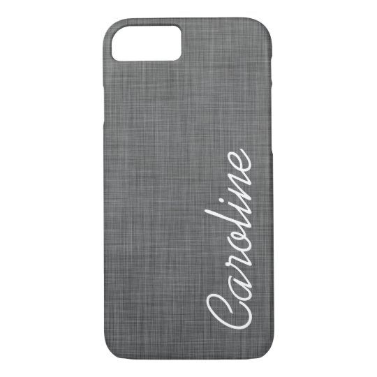 Charcoal Grey Faux Linen Texture Custom Monogram iPhone