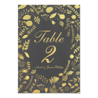 Charcoal Grey & Gold Floral Wedding Table Card