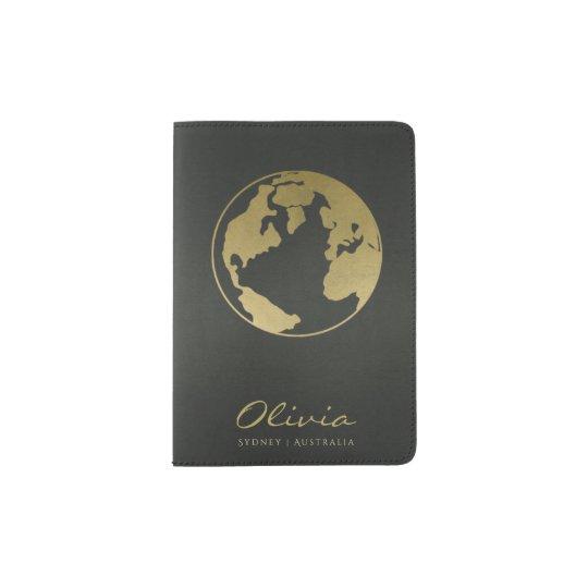 CHARCOAL GREY GOLD WORLD GLOBE LEATHER MONOGRAM PASSPORT