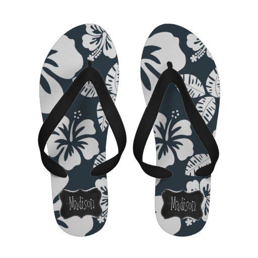 Charcoal Grey, Gray Tropical Hibiscus; Chalkboard Flip-Flops