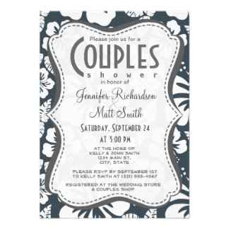 Charcoal Grey, Gray Tropical Hibiscus Invitation