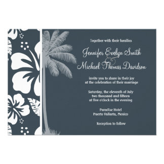 Charcoal Grey Gray Tropical Hibiscus Palm Invites