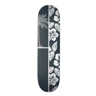 Charcoal Grey, Gray Tropical Hibiscus; Palm Skateboards
