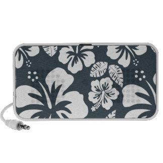 Charcoal Grey Gray Tropical Hibiscus Travel Speakers