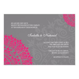Charcoal Grey & Hot Pink Damask Wedding Invitation