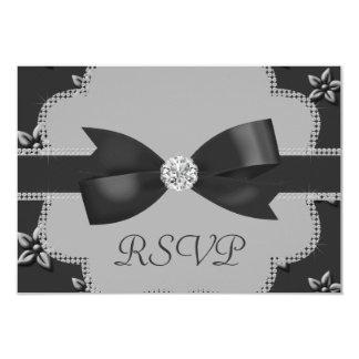 Charcoal Grey Island Flowers & Rhinestones Wedding 9 Cm X 13 Cm Invitation Card