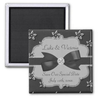 Charcoal Grey Island Flowers & Rhinestones Wedding Square Magnet