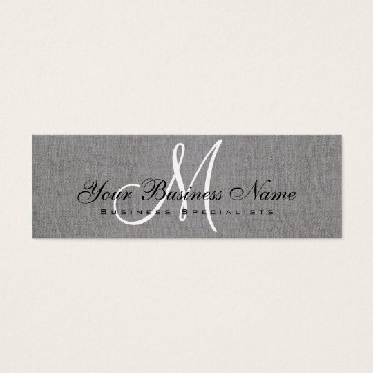 Charcoal Grey Linen Simple Monogram Mini Business Card