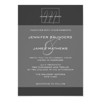 Charcoal Grey Monogram Names Wedding Invitation