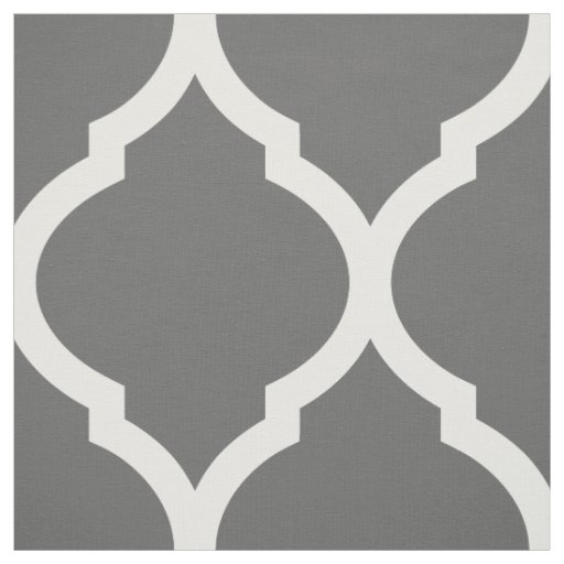 Charcoal Grey Moroccan Quatrefoil Large Scale Fabric
