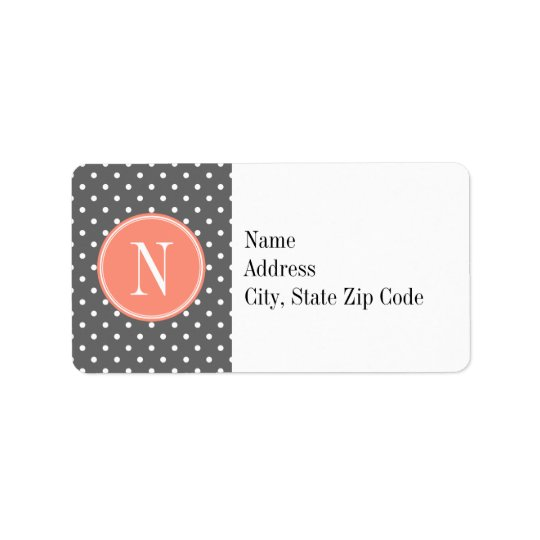 Charcoal Grey Polka Dot with Coral Monogram Address Label