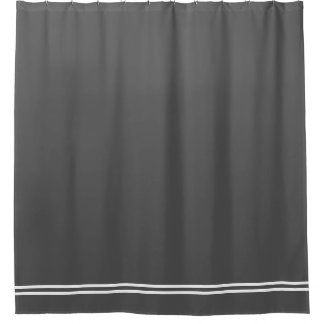 Charcoal Grey shower curtain double line border