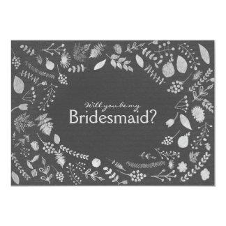 Charcoal Grey Silver Floral Be My Bridesmaid etc. 13 Cm X 18 Cm Invitation Card