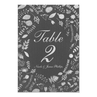 Charcoal Grey & Silver Floral Wedding Table Card
