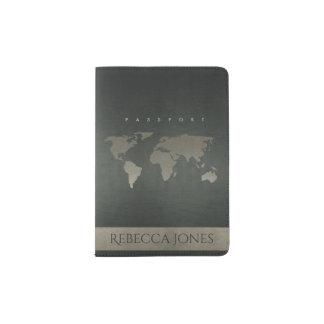 CHARCOAL GREY SILVER WORLD MAP LEATHER MONOGRAM PASSPORT HOLDER