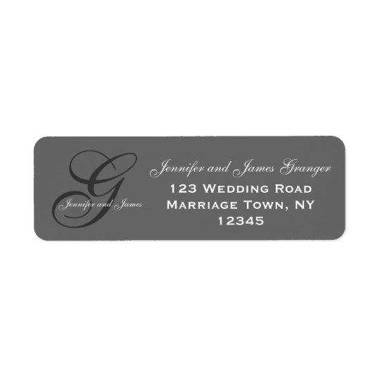 Charcoal Grey Swirl Initial G Wedding Return Address Label