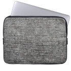 Charcoal Grey Tweed Fabric Texture Pattern Laptop Sleeve