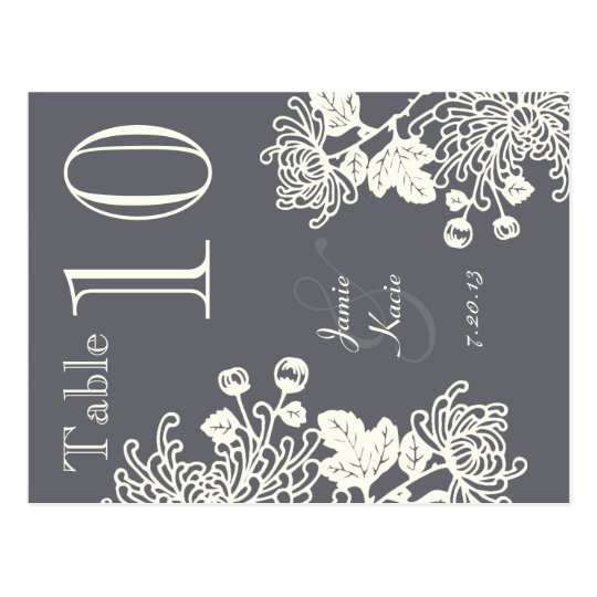 Charcoal Grey Vintage Floral Wedding Table Number Postcard