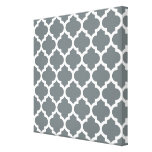 Charcoal Grey White Moroccan Quatrefoil Pattern #5 Stretched Canvas Prints