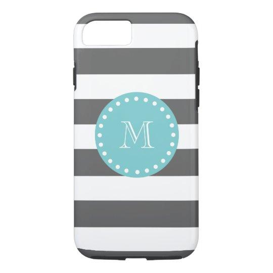 Charcoal Grey White Stripes Pattern, Teal Monogram iPhone