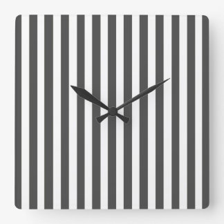 Charcoal Modern Stripes Square Wall Clock