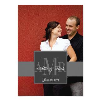 Charcoal Monogram Photo Wedding Invitation 2