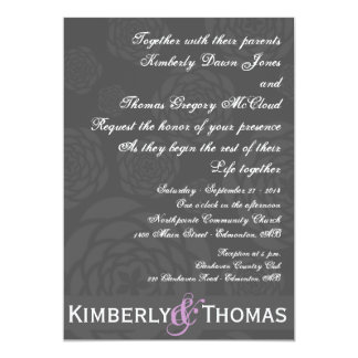 Charcoal Peonies on Black with Accent Color Invite