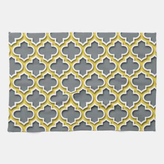 Charcoal Pineapple White Moroccan Quatrefoil #5DS Tea Towel