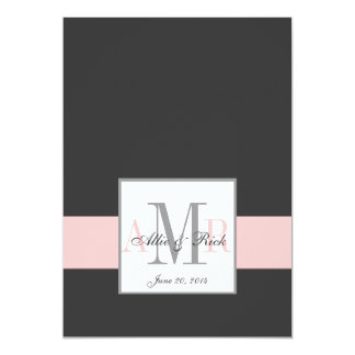 Charcoal Pink Monogram Wedding Invitation Front