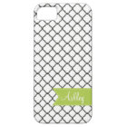 Charcoal Quatre Foil with Custom Monogram Ribbon Case For The iPhone 5