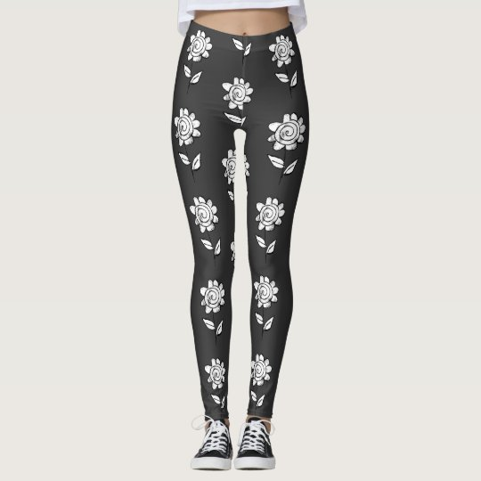 Charcoal retro flowers leggings