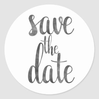 Charcoal save the date stickers