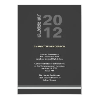 Charcoal sport stripe graduation class invitation
