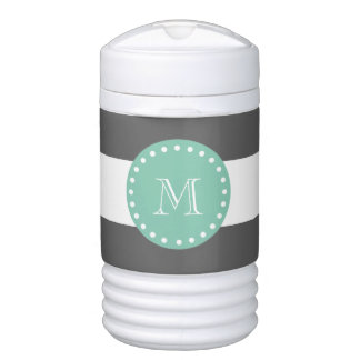 Charcoal Stripes Pattern, Mint Green Monogram Cooler