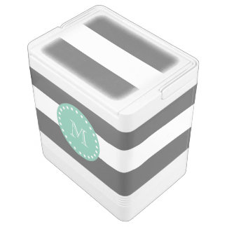Charcoal Stripes Pattern, Mint Green Monogram Igloo Cool Box