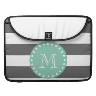 Charcoal Stripes Pattern, Mint Green Monogram Sleeves For MacBook Pro